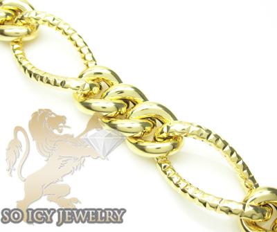 14k yellow gold diamond cut xl figaro link bracelet 20mm