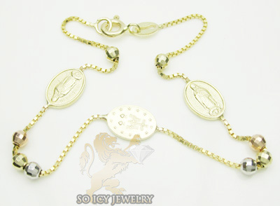 14k tri color gold jesus rosary bracelet 2.50mm