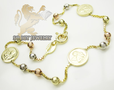 14k Tri Color Gold Angle Rosary Ankle Bracelet 2.50mm