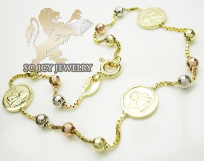 14k tri color gold angle rosary ankle bracelet 2.50mm