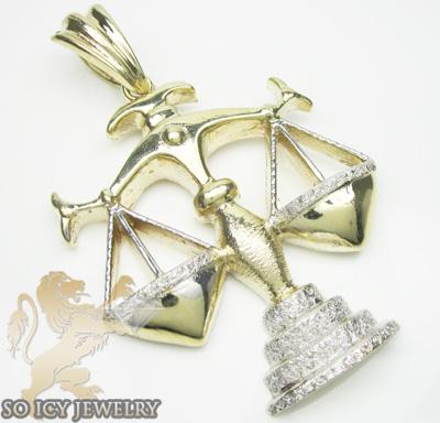 Mens ladies 10k yellow & white zodiac libra pendant