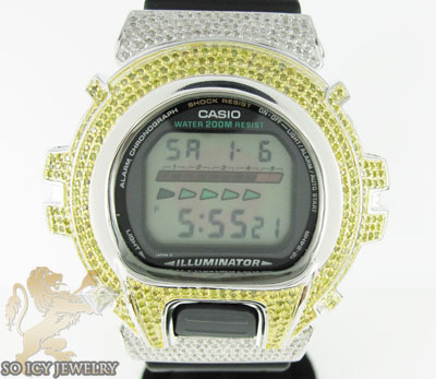 Mens diamond canary g-shock watch 4.00ct