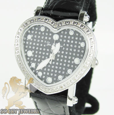 Ladies joe rodeo diamond watch black mini heart 0.27ct