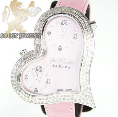 Ladies joe rodeo diamond watch pink sahara heart 1.40ct