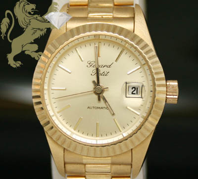 Ladies Pure 18k Solid Yellow Gold 'gerard Petit' Watch
