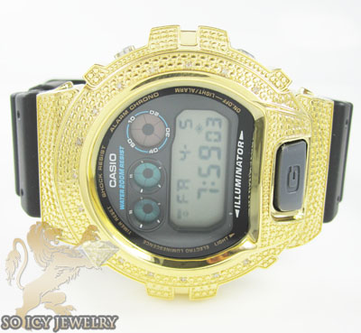 Mens Diamond Yellow G-shock Watch 0.15ct