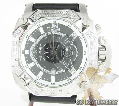 Mens Diamond Techno Master Black Super Xl Watch 0.20ct
