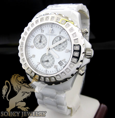 Ladies techno master diamond white ceramic watch 0.90ct