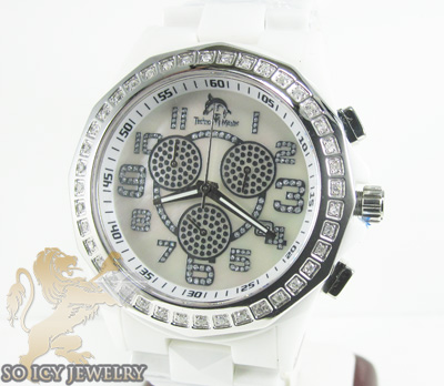 Mens Techno Master Diamond White Ceramic Watch 1.00ct