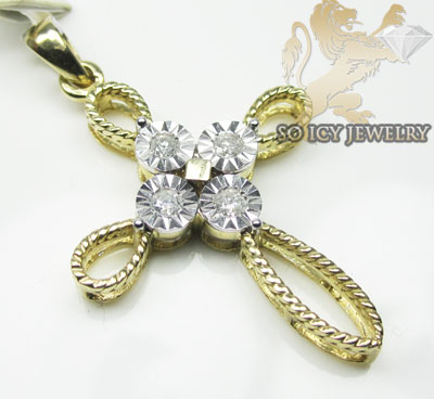 Ladies 14k Yellow Gold Diamond Cut Bezel Cross 0.40ct