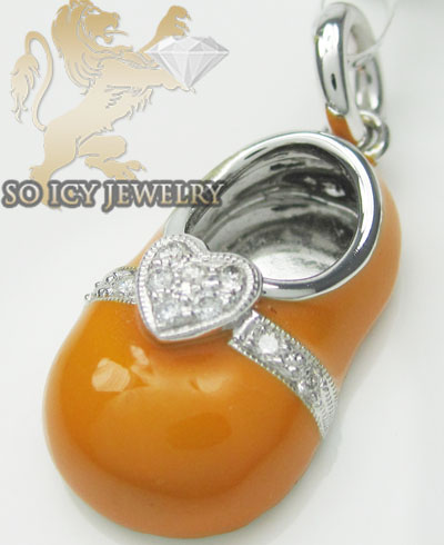Diamond heart baby shoe pendant 14k white gold orange  enamel 0.07ct