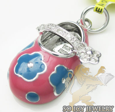 Diamond baby shoe pendant 14k white gold pink & blue flower enamel 0.08ct
