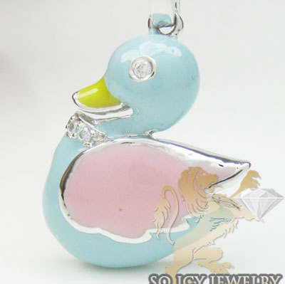 Diamond swan pendant 14k white gold yellow, baby blue & pink enamel 0.02ct