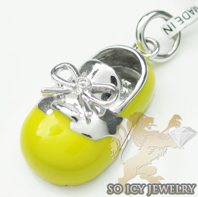 Diamond baby shoe pendant 14k white gold yellow enamel 0.01ct