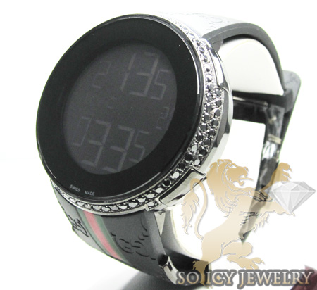Mens Black Diamond Igucci Digital Watch 2.00ct