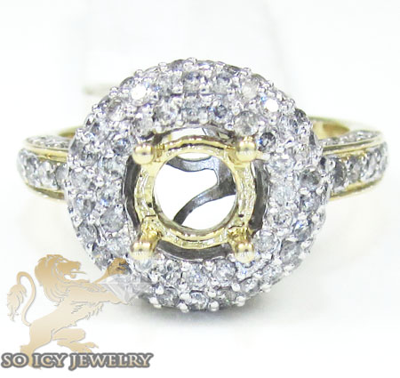 14k Yellow Gold Round Diamond Semi Mount Engagement Ring 2.00ct
