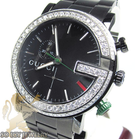 Diamond Gucci G Watch Black Stainless Steel 3.75 Ct