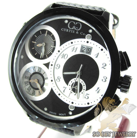 Curtis & Co Black Stainless Steel Mens Watch 4 Time Zone