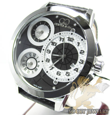 Curtis & co white stainless steel mens watch 3 time zone