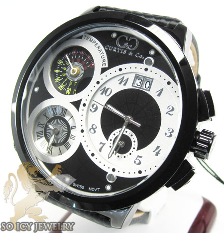 Curtis & co black stainless steel mens watch 3 time zone