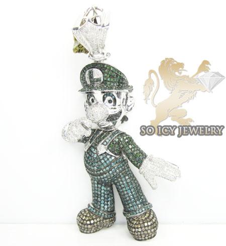 Luigi green diamond 14k white gold pendant 7.00ct