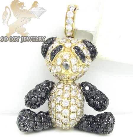 Teddy bear diamond 14k yellow gold pendant 3.35ct