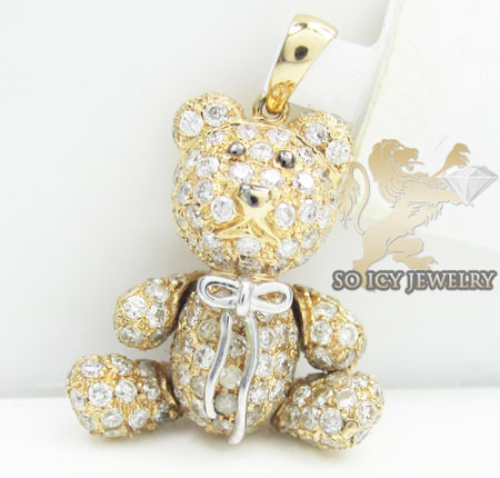 Teddy bear diamond 14k rose gold pendant 1.90ct