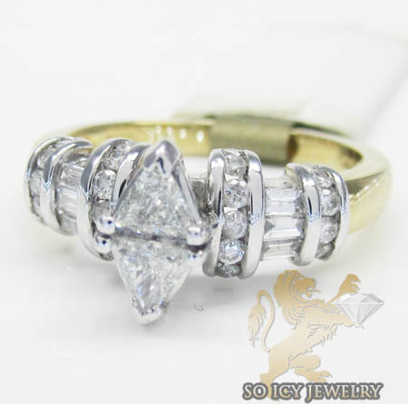 Ladies 14k Two Tone Gold Trillion Diamond Engagement Ring  0.75ct