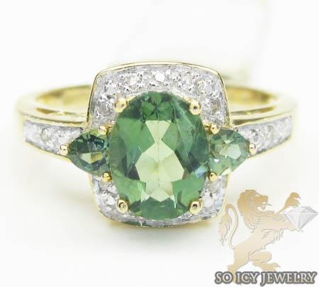 Ladies 14k Yellow Gold Diamond & Green Sapphire Ring 1.35ct