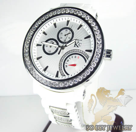 Techno com kc diamond white ceramic watch 10.00ct