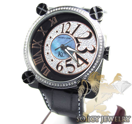 Techno Com Kc Full Diamond Moon Dial Watch 3.00ct