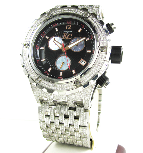 Mens techno com kc white stainless steel fully iced out diamond xxl watch 15.00ct