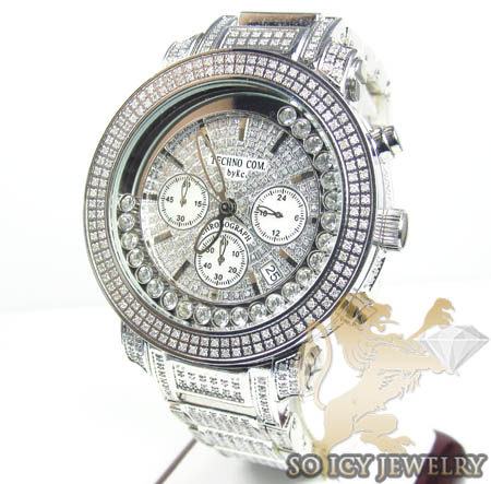 Techno Com Kc Full Diamond Band & Case Watch 9.00ct