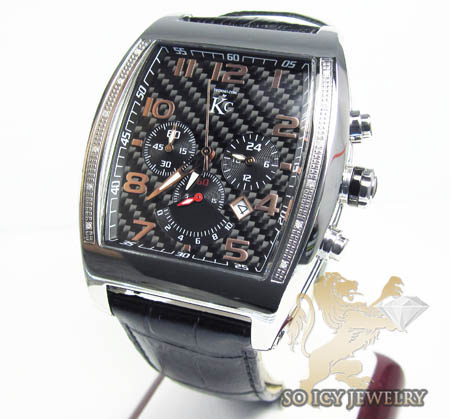 Techno Com Kc Diamond Black Carbon Fiber Watch 0.15ct