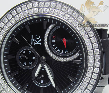 Techno Com Kc Black Ceramic 2 Row Diamond Bezel Watch 5.00ct