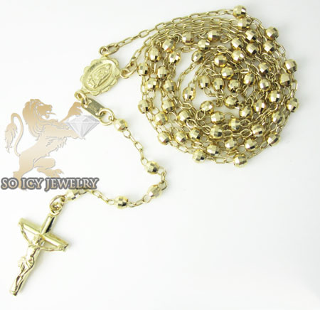 Rosary necklace 14k yellow gold diamond cut beads 29 inches 3mm