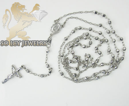 Rosary necklace 14k white gold diamond cut beads 29 inches 3mm