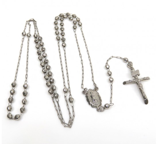 Rosary necklace 14k white gold diamond cut beads 20 inches 2.8mm