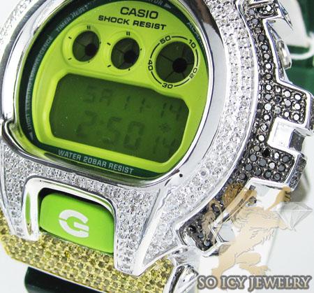 Mens silver g-shock diamond neon green watch 4.00ct