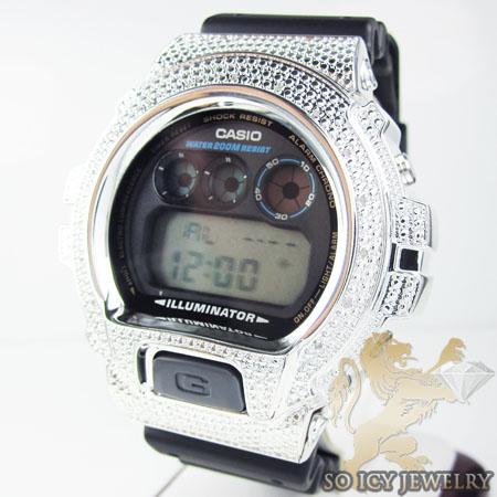 Mens Silver G-shock Diamond Watch 0.15ct