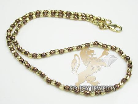 14k Brown & Yellow Gold  Diamond Cut 'bead' Anklet Bracelet 10 Inch 2mm