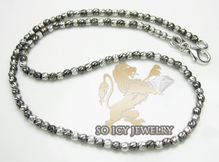 14k White & Black Gold Diamond Cut 'bead' Anklet Bracelet 10 Inch 2mm