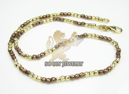 14k Brown & Yellow Gold Diamond Cut 'bead' Anklet Bracelet 10 Inch 2mm