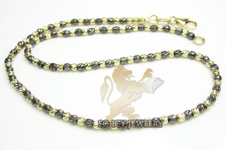 14k Black & Yellow Gold Diamond Cut 'bead' Anklet Bracelet 10 Inch 2mm