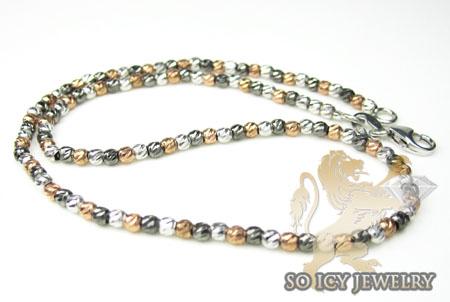 14k Rose Black & White Gold Diamond Cut 'bead' Anklet Bracelet 10 Inch 2mm