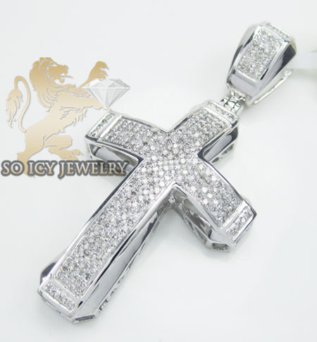 10k White Or Yellow Gold Pave Curved Frame Cross 0.75ct