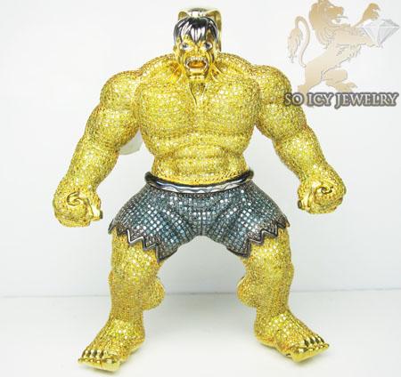 Canary hulk diamond 10k yellow gold pendant 11 00ct