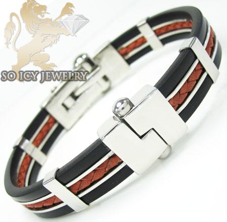 White Stainless Steel Red & Black Rubber Bracelet