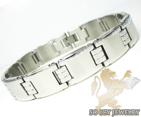 White Stainless Steel Square Link Bracelet