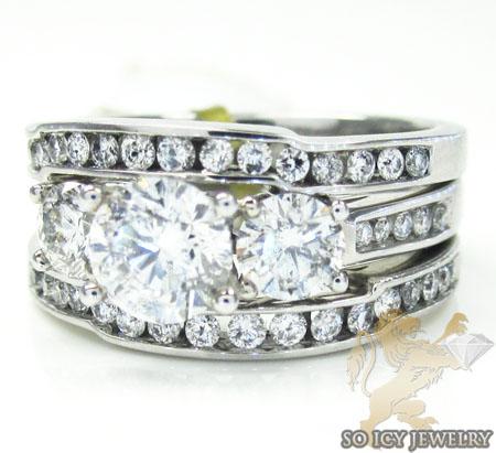 LADIES 14K WHITE GOLD DIAMOND TRIPLE BAND ENGAGEMENT RING 225CT